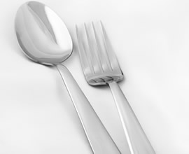 An Image of a silve spoon and fork